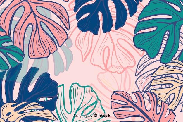Hand getekend kleurrijke monstera achtergrond
