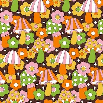 Hand getekend kleurrijke paddestoel patroon