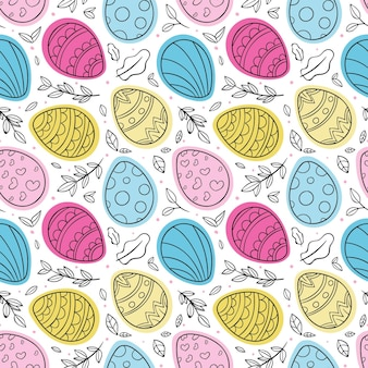 Hand getekend kleurrijke pasen patroon