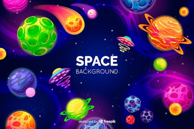 Hand getekend kleurrijke ruimte achtergrond