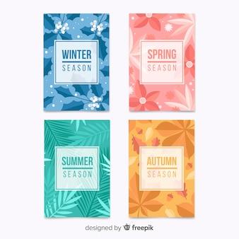 Hand getekend kleurrijke seizoensgebonden poster collectie