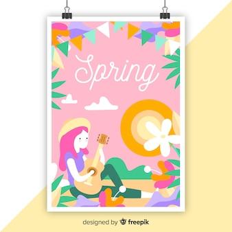 Hand getekend kleurrijke seizoensgebonden poster