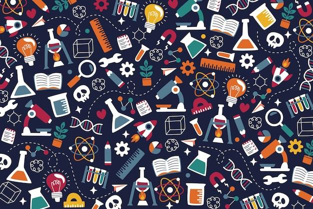Hand getekend kleurrijke wetenschappelijke onderwijs achtergrond