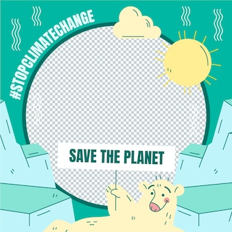 Hand getekend klimaatverandering facebook frame