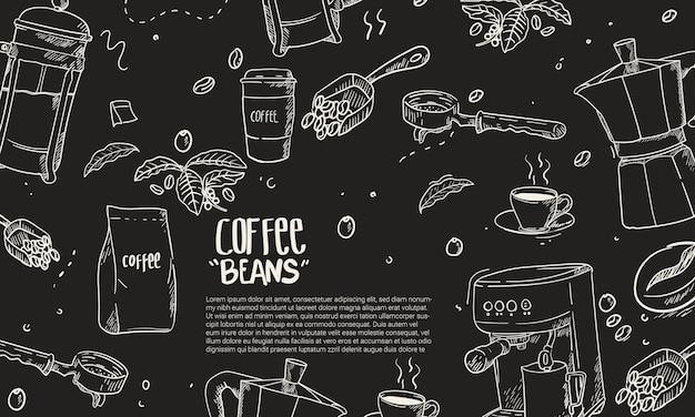 Hand getekend koffie apparatuur samenstelling achtergrond