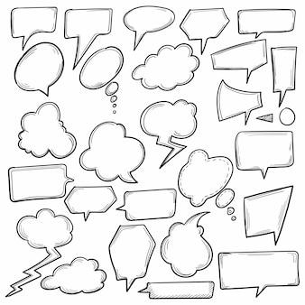 Hand getekend komische tekstballonnen schetsontwerp