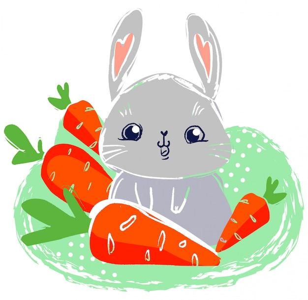 Hand getekend konijn met wortelen.