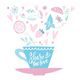 Hand getekend kopje koffie of thee met harten, bloemen, kruiden en valentijnsdag belettering tekst - deel de liefde.