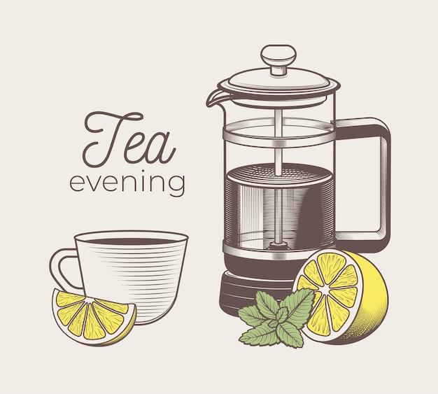 Hand getekend kopje thee met citroen en munt en thee franse pers illustratie in gravure stijl voor menu of café. vintage theeservies.
