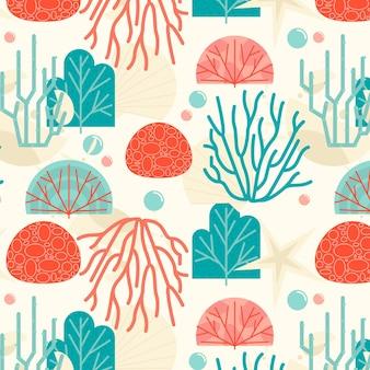 Hand getekend koraalpatroon met zeewier