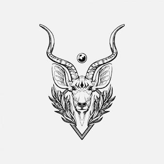 Hand getekend kudu stier hoofd tattoo illustratie