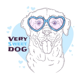Hand getekend labrador retriever hond met bril