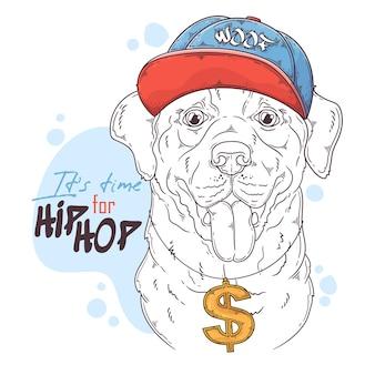 Hand getekend labrador retriever rapper hond