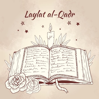 Hand getekend laylat al-qadr illustratie