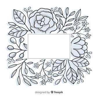 Hand getekend leeg frame met bloemmotief