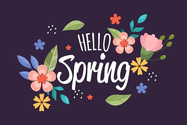 Hand getekend lente achtergrond met bloemen