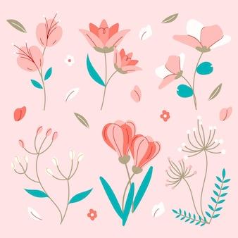 Hand getekend lente bloemen collectie