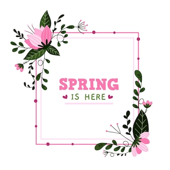 Hand getekend lente bloemen frame concept