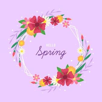 Hand getekend lente bloemen frame met bericht