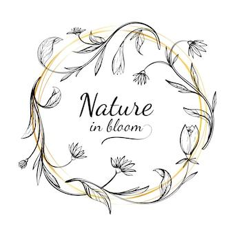Hand getekend lente bloemen frame met de natuur