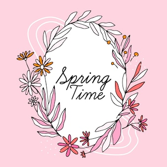 Hand getekend lente bloemen frame met letters