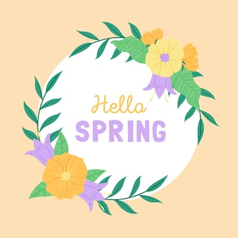 Hand getekend lente bloemen frame met tekst