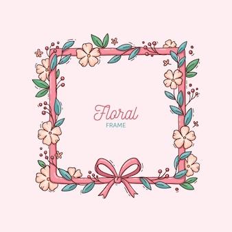 Hand getekend lente bloemen frame