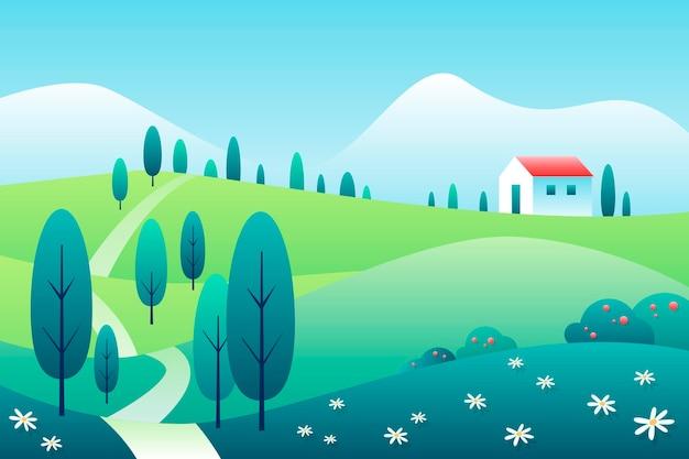 Hand getekend lente landschap met huis