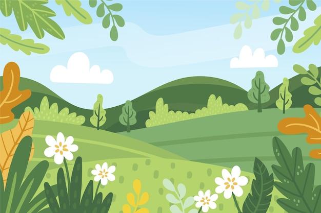Hand getekend lente landschap
