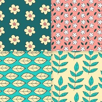 Hand getekend lente patroon pack Gratis Vector