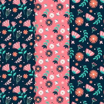 Hand getekend lente patroon pack