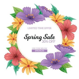 Hand getekend lente verkoop concept