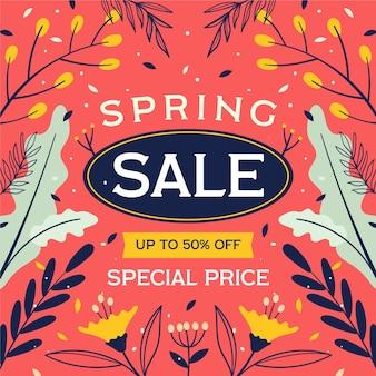 Hand getekend lente verkoop illustratie