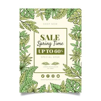 Hand getekend lente verkoop sjabloon folder concept
