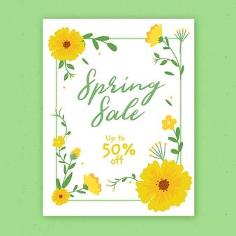 Hand getekend lente verkoop sjabloon folder met bloemen