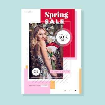 Hand getekend lente verkoop sjabloon folder met foto