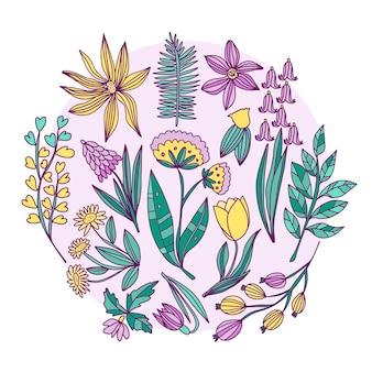 Hand getekend lentebloem collectie