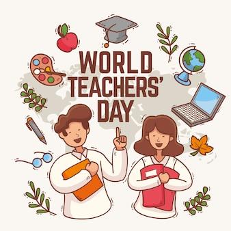 Hand getekend leraren dag concept