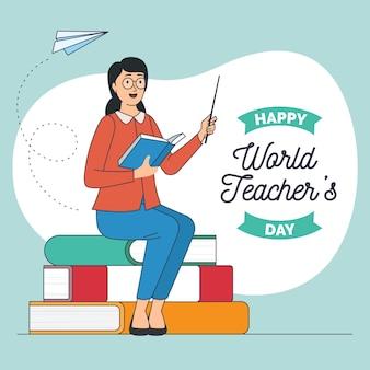 Hand getekend lerarendag illustratie