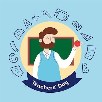 Hand getekend lerarendag met illustratie van de man