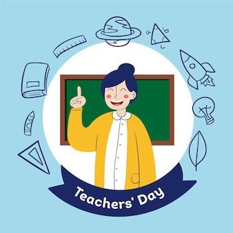 Hand getekend lerarendag met illustratie van de vrouw