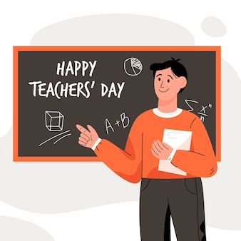 Hand getekend lerarendag met mannelijke leraar