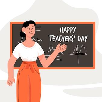 Hand getekend lerarendag met vrouwelijke leraar