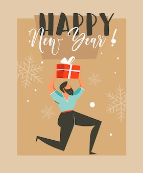 Hand getekend leuke merry christmas time coon illustratie wenskaart met man die verrassing geschenkdoos en gelukkig nieuwjaar typografie op ambachtelijke papier achtergrond houdt