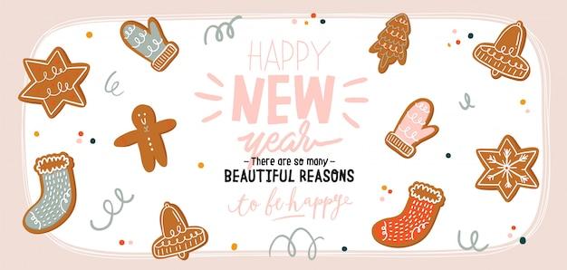 Hand getekend leuke vakantie winter illustratie met verschillende smakelijke peperkoek cookies in cartoon stijl. kerst lieve man, bel, sokken, ster, want, sneeuwvlok. achtergrond. .