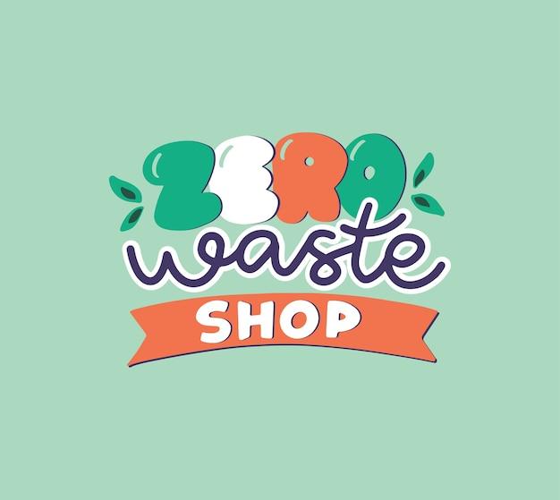 Hand getekend logo van zero waste shop. handgeschreven lettersamenstelling.