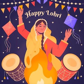 Hand getekend lohri festival