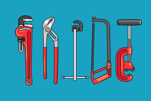 Hand getekend loodgieter tools illustratie