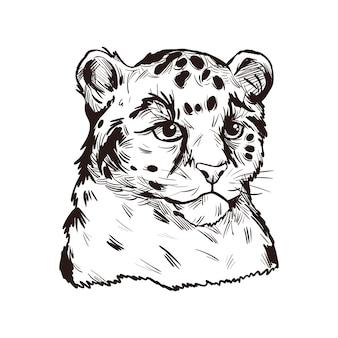 Hand getekend luipaard baby