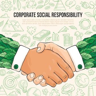 Hand getekend maatschappelijk verantwoord ondernemen concept